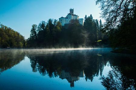 tranquilly: Old castle Trakoscan, Croatia, morning, sunrise on the lake