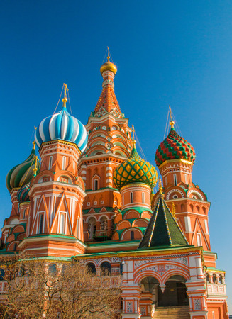 pokrovsky: Roofs and cupolas of St Basil Cathedral (Intersession cathedral, Pokrovsky Cathedral) in Moscow, Russian Federation Stock Photo