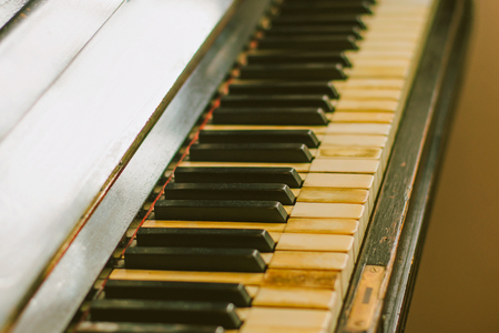 clavier: Old rusty piano keyboard, selective focus Stock Photo