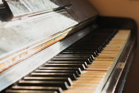 Old rusty piano keyboard, selective focus Stock Photo