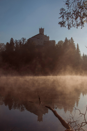 tranquilly: Old castle Trakoscan, Croatia, dark mystic obscure atmosphere, reflection in the lake