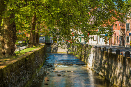 placid water: City park and Gradna creek in the town of Samobor, northern Croatia Stock Photo