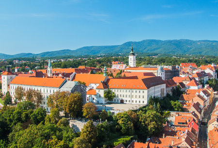 st  mark: Panoramic view of st Mark Church on upper town in Zagreb, capital of Croatia