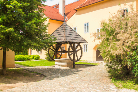 water well: Old traditional water well on Upper town in Zagreb, Croatia, urban landscape