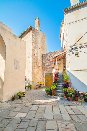 ambient: Street and old houses in Old Town of Cres, Croatia, Mediterranean ambient