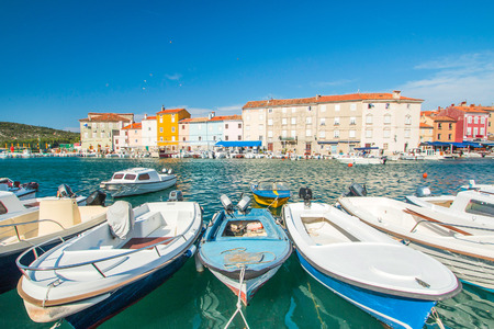 seafronts: Fishing boats in marine in town of Cres, waterfront, Island of Cres, Kvarner, Croatia Stock Photo