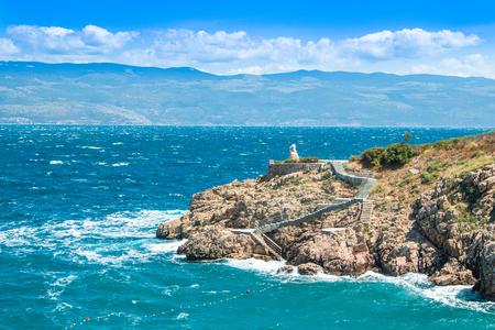 krk: View of Vrbnik on the Island of Krk, strong wind, Croatia Stock Photo