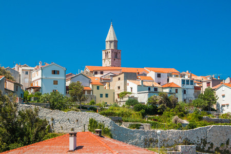 krk: Panoramic view of the old town of Vrbnik on the Island of Krk, Croatia Stock Photo