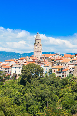 Panoramic view of the old town of Vrbnik on the Island of Krk, Croatia Stock Photo