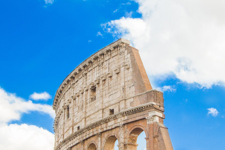 amphitheatre: Exterior detail of the Flavian Amphitheatre Colosseum, in Rome, Italy Stock Photo
