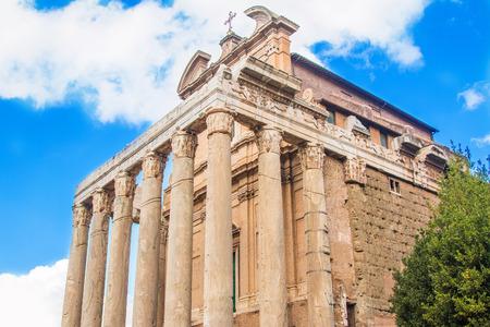 Old columns of Temple of Antoninus and Faustina, adopted to church of San Lorenzo in Miranda, Forum Romanom (Roman Forum), Rome, Italy