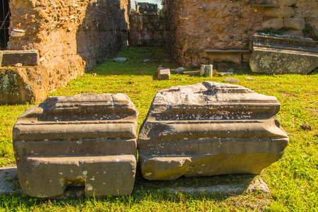 Remains of old ancient building on the ground on Forum Romanum, Rome, Italy