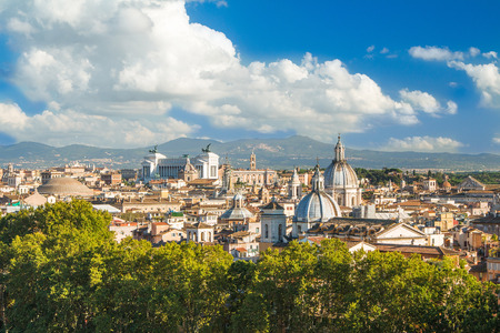 Panoramic view of Rome from Castel SantAngelo, Italy.