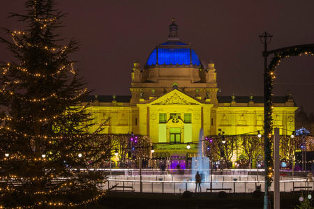 King Tomislav Square in Zagreb, Christmas, Advent ambient, Art Pavilion and ice skating park, popular tourist event