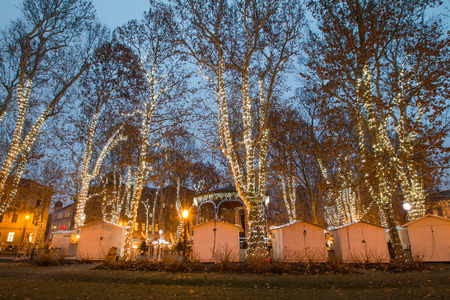 advent time: Advent time in the center of Zagreb, Croatia, decorated trees and stands in park Zrinjevac