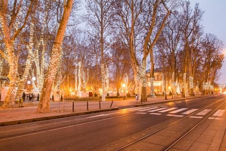 Zrinjevac park in Zagreb Croatia during Advent, blue light trail, motion blur