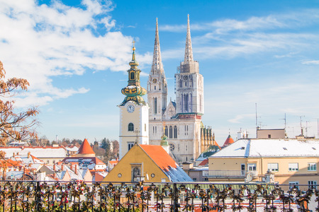 Panoramic view of cathedral in Zagreb, Croatia, from Upper town, winter, snow on roofs Stock fotó