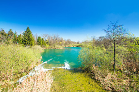 shrubs: Beautiful landscape, waterfall, clear green water and on Mreznica river in Croatia. Beautiful world. Panoramic view.