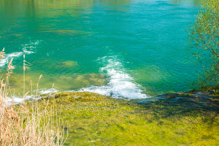 Beautiful clear green water and on Mreznica river in Croatia, panoramic view. Stock Photo
