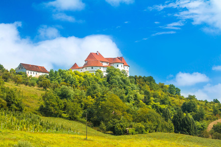 Countryside landscape in Zagorje, Croatia, with old castle Veliki Tabor on hill Editorial