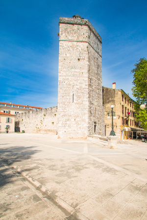 empedrado: Captains tower on Five wells square in Zadar, Dalmatia, Croatia