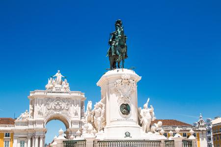 Equestrian statue of king Jose I on Commerce Plaza in Lisbon, Portugal, by sculptor Machado de Castro in 1775.