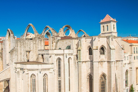 openair: Overview of Convento do Carmo Open-Air church in Lisbon Portugal