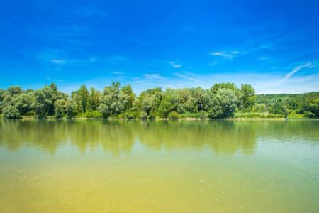 Beautiful landscape, confluence of Mura and Drava rivers in Medjimurje, Croatia