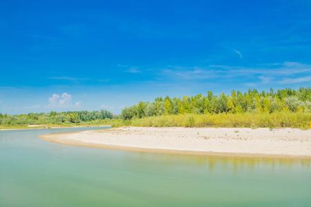 Beautiful sand beach on Drava river in Medjimurje, Croatia
