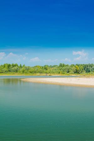 Beautiful sand beach and green nature on Drava river in Medjimurje, Croatia Stock Photo