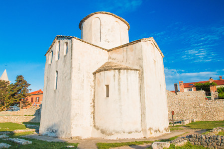 Medieval church of Holy Cross from 9th century and archaeological site in historic town of Nin, Dalmatia, Croatia Stock Photo
