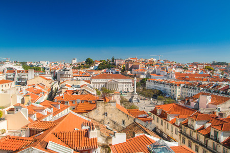 Lisbon skyline from Santa Justa Lift. Building in the centre is National Theatre D. Maria II on Rossio Square (Pedro IV Square) in Lisbon Portugal