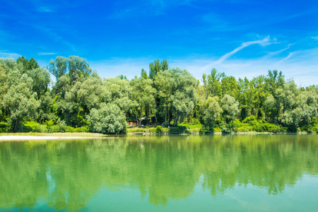 Beautiful jungle landscape, confluence of Mura and Drava rivers in Medjimurje, Croatia, cottage in the wood Stock Photo
