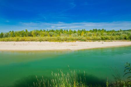 Beautiful nature landscape, sand beach on Drava river in Medjimurje, Croatia
