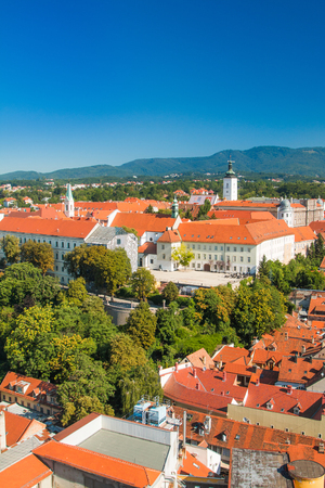 st mark: View of historic upper town in Zagreb, capital of Croatia Stock Photo