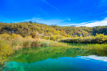 Beautiful landscape nature, surface of water on Plitvice Lakes National Park in Croatia in autumn