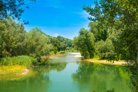 Beautiful jungle landscape, confluence of Mura and Drava rivers in Medjimurje, Croatia