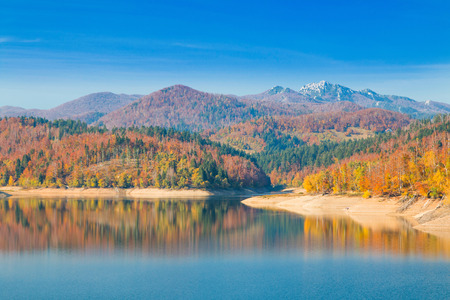 Panoramic view of Lokvarsko lake, beautiful colorful mountain autumn landscape, Lokve, Gorski kotar, Croatia