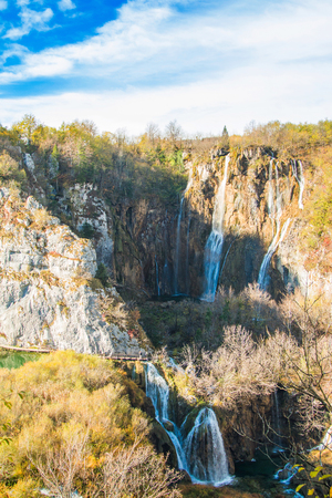 Big waterfall in the Plitvice Lakes National Park in Croatia in autumn Stock Photo