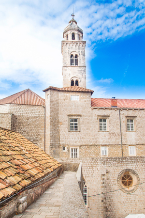 Old town of Dubrovnik, Croatia, defensive city walls and dominican monastery Stock Photo