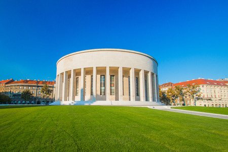 Zagreb, Croatia, art gallery and beautiful green park in center of Croatian capital, classic monumental architecture