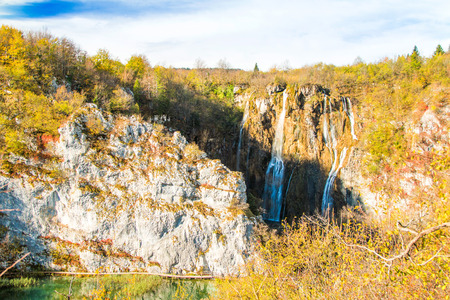 Croatia, Plitvice, big waterfall in popular national park in autumn