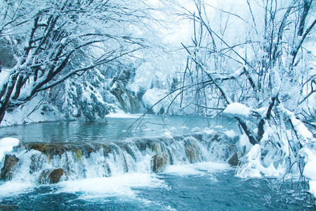 Croatia, Plitivice, frozen waterfalls in popular nature park Plitvicka jezera