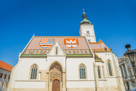 St. Marks Church at St. Marks Square, Zagreb, Croatia 版權商用圖片
