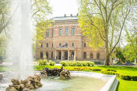 Zagreb, Croatia, park Zrinjevac and academy of science and arts palace in background, beautiful spring day, popular tourist destination Sajtókép