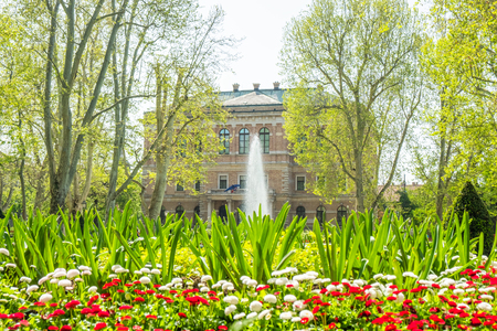 Zagreb, Croatia, park Zrinjevac and academy of science and arts palace in background, beautiful spring day, popular tourist destination Stock Photo - 122152101