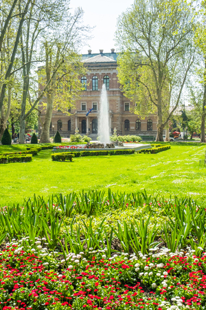 Zagreb, Croatia, park Zrinjevac and academy of science and arts palace in background, beautiful spring day, popular tourist destination Editorial