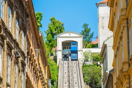 Funicular and medieval Lotrscak tower in Zagreb, Croatia, tourist attractions and popular site