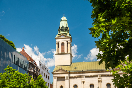 Zagreb, Croatia, Flowers square, Serbian orthodox church among trees Banco de Imagens