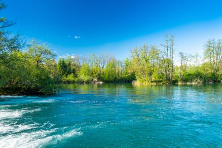 Beautiful green Mreznica river, in Belavici, Croatia, nature countryside landscape 免版税图像